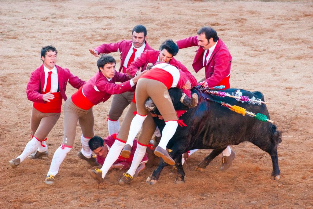 six hommes deguisés sur un taureau