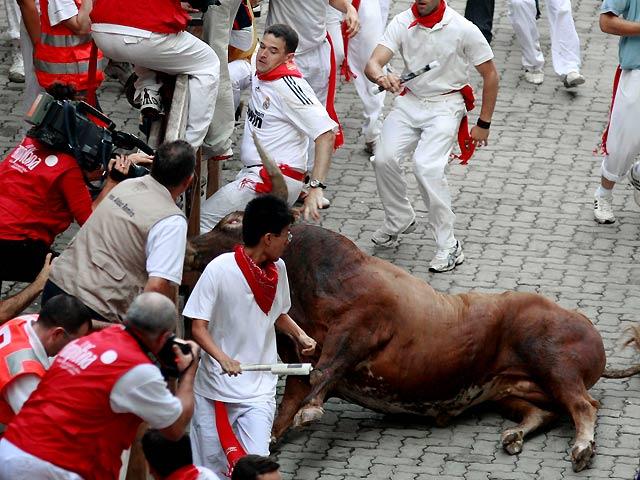 un taureau et des gens