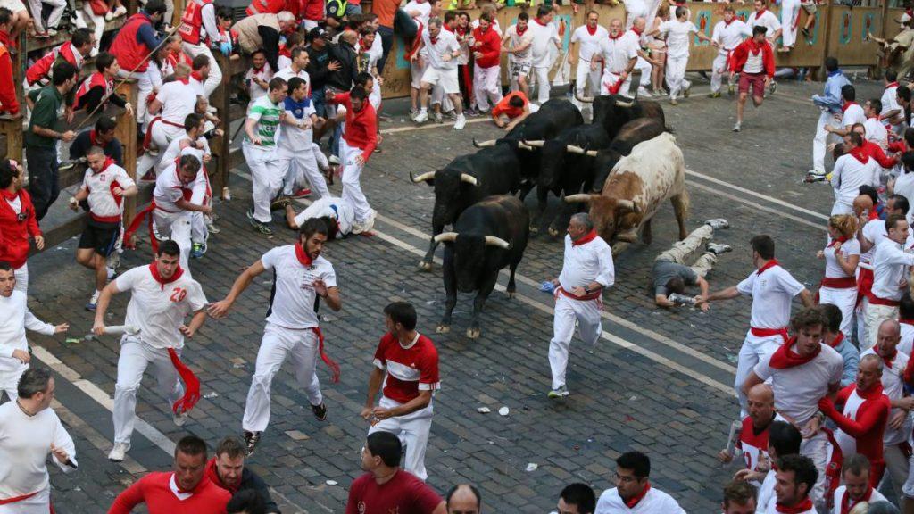des taureaux au milieu de la foule